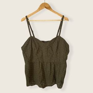 Torrid 4X Top Tank Top Embroidered Blouse Green 4X